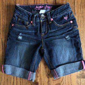 Justice size 7 regular blue jean shorts.